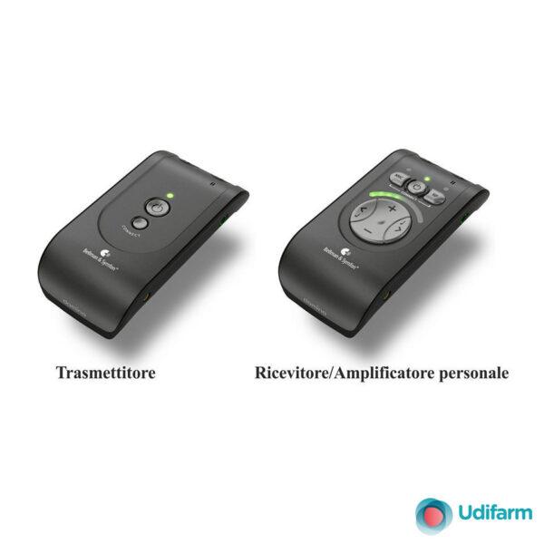 Sistema di ascolto senza fili e amplificatore personale +120dB modello DOMINO PRO