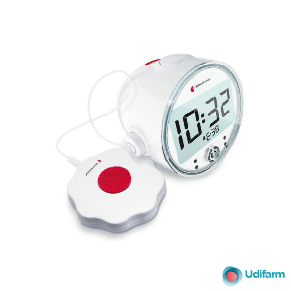 Sveglia digitale con ricevitore incorporato e dispositivo esterno a vibrazione modello BE1580